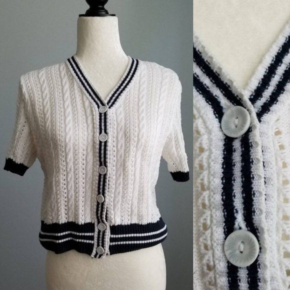 Vintage Two Roads Knitted Button Up Crop Cardigan